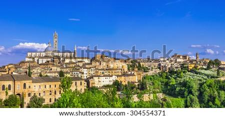 Landmarks of Italy - panorama of Siena, Tuscany - stock photo