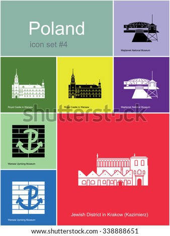 Landmarks of Poland. Set of color icons in Metro style. Raster illustration. - stock photo