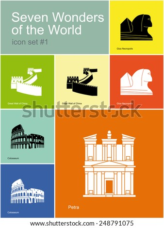 Landmarks of Seven Wonders of the World. Set of color icons in Metro style. Raster  illustration. - stock photo
