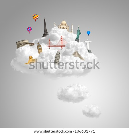 landmarks on the clouds as travel around the world dream concept with copy space - stock photo