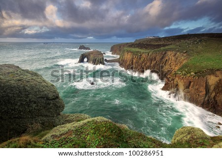 Lands End Cornwall - stock photo