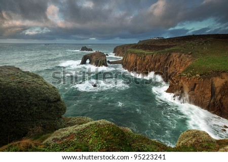 Lands End in Cornwall, UK - stock photo