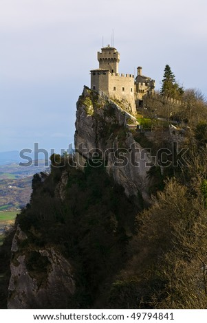 Landsacpe And Ancient Castle Of San Marino - stock photo