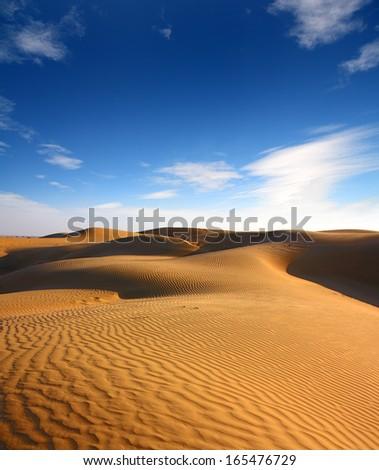 landsape in Tar desert India - stock photo