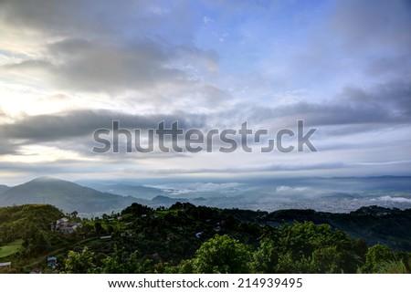 Landsape of early morning in pokhara - stock photo