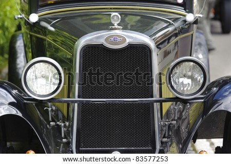 LANDSBERG, GERMANY - JULY 9: Oldtimer rally for at least 80 years old antique cars with  Chevrolet, Typ National AB Coupe, built at year 1928, photo taken on July 9, 2011 in Landsberg, Germany - stock photo