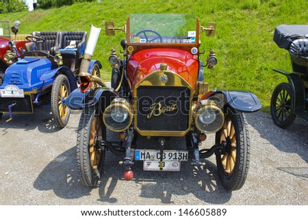 LANDSBERG, GERMANY - JULY 13: Oldtimer rallye for at least 80 years old antique cars with Benz 8/20, built at year 1913, photo taken on July 13, 2013 in Landsberg, Germany - stock photo