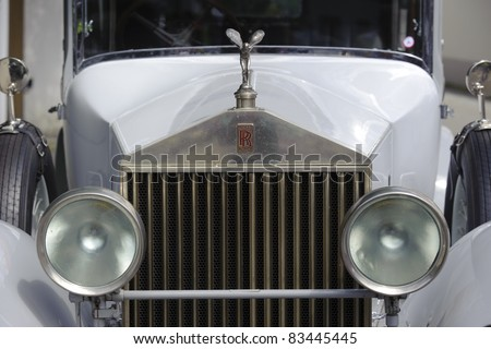 LANDSBERG, GERMANY - JULY 9: Oldtimer rallye for at least 80 years old antique cars with Emily on Rolls Royce Phantom, built at year 1928, photo taken on July 9, 2011 in Landsberg, Germany - stock photo