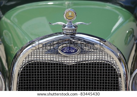 LANDSBERG, GERMANY - JULY 9: Oldtimer rallye for at least 80 years old antique cars with Ford, Typ A Tudor Sedan, built at year 1928, photo taken on July 9, 2011 in Landsberg, Germany - stock photo