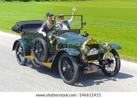 LANDSBERG, GERMANY - JULY 12: Oldtimer rallye for at least 80 years old antique cars withBenz 8/20, built at year 1912, photo taken on July 12, 2013 in Landsberg, Germany - stock photo