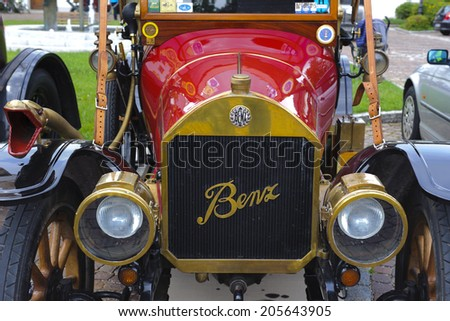 LANDSBERG, GERMANY - JULY 12, 2014: Public oldtimer rally in Bavarian city Landsberg for at least 80 years old veteran cars with a front view of Benz 8/20, built at year 1913 - stock photo
