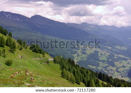 Landscap of the Grossglockner route in the Austrian Alps - stock photo