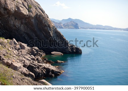 landscape about the sea and rocks - stock photo