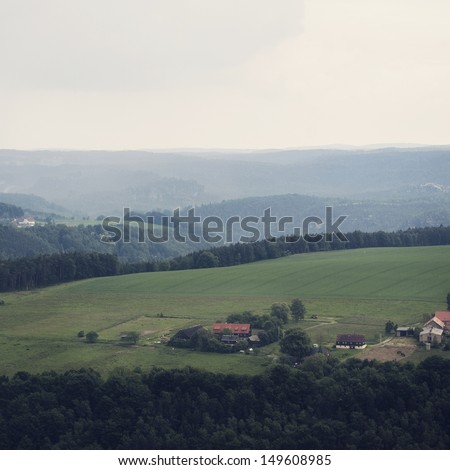 Landscape and agriculture fields in Saxon Switzerland, Germany - stock photo