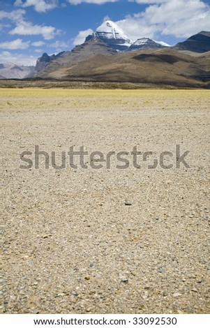 landscape and Mount Kailash in tibet, china - stock photo