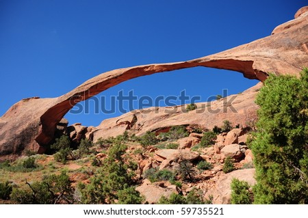 Landscape Arch at Arches National Park, UT - stock photo