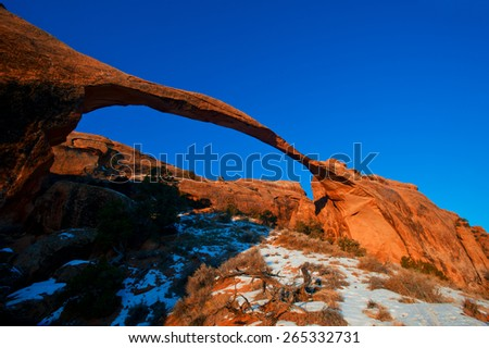 Landscape Arch in Arches National Park, Utah - stock photo