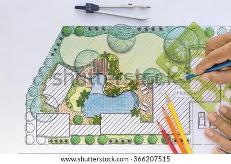 Landscape architect design backyard plan for villa - stock photo