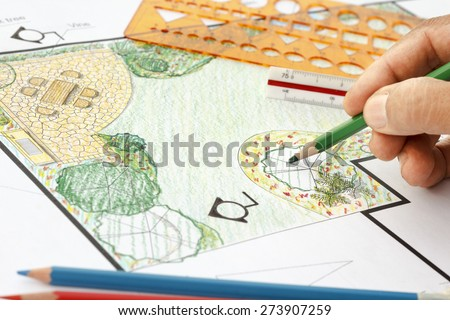 Landscape architect design garden plan - stock photo