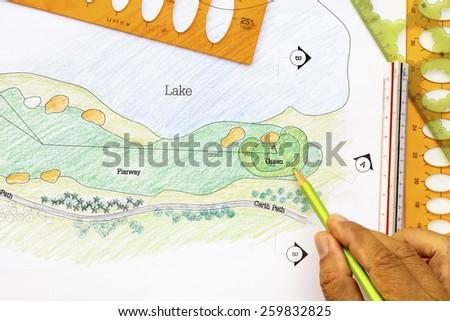 Landscape architect design golf course plan. - stock photo