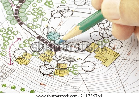 Landscape Architect Designing on site analysis plan - stock photo