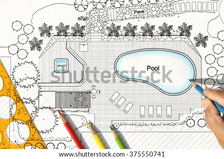 Landscape Architect Designs Backyard Plan with Pool For Luxury Villa. - stock photo