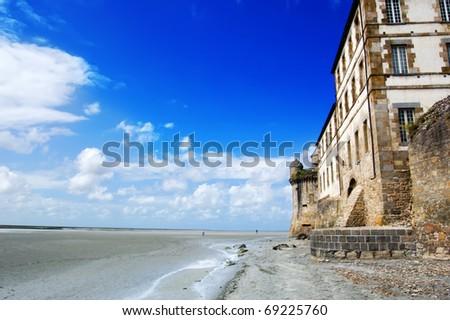 landscape around Mont Saint Michel - stock photo