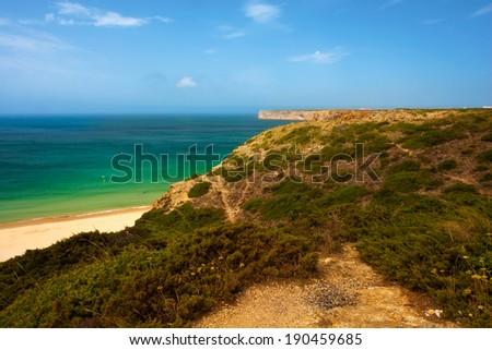 Landscape at Cabo de Sao Vincente, Algarve, Portugal.  - stock photo