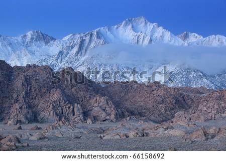 Landscape at dawn Lone Pine Peak, Eastern Sierra Nevada Mountains and Alabama Hills, Lone Pine, California, USA - stock photo