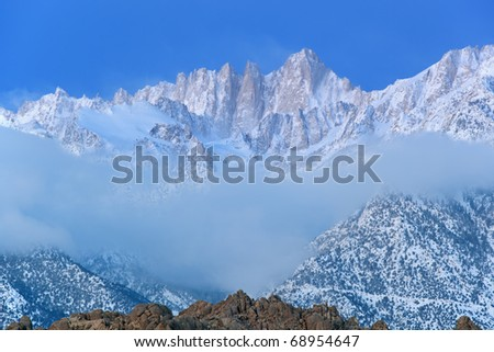 Landscape at dawn Mt. Whitney, Eastern Sierra Nevada Mountains and Alabama Hills, Lone Pine, California, USA - stock photo