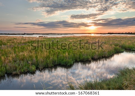 landscape at sunset of the swamp - the lagoon in the natural reserve of Comacchio, Ferrara, Italy  - stock photo