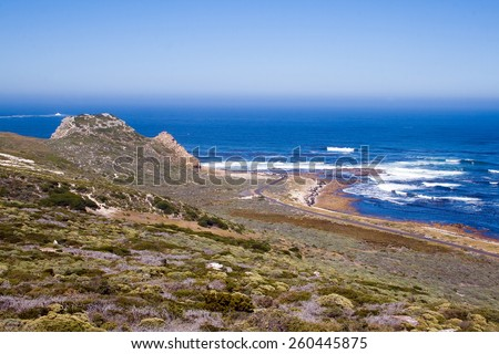 Landscape at the Cape of Good Hope. Cape of Good Hope is the most southwestern point of the African continent.  - stock photo
