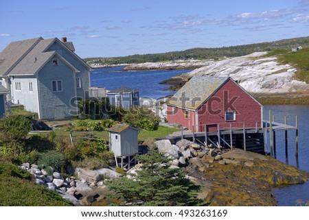 Landscape at the quaint fishing village of Peggy's Cove near Halifax, Nova Scotia, Canada