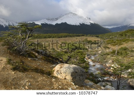 Landscape at Tierra Del Fuego near Ushuaia. Argentina. - stock photo