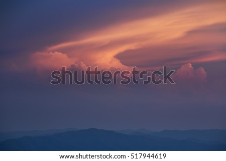 Landscape at twilight of the Great Smoky Mountains from Clingman's Dome, Great Smoky Mountains National Park, Tennessee, USA