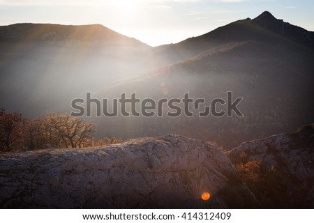 Landscape. Autumn in the mountains and a highlight in the form of a smiley - stock photo