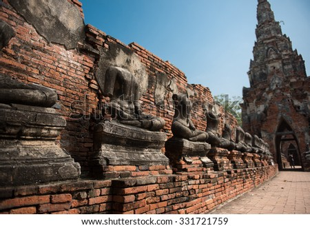 Landscape Ayutthaya Historical Park in Ayutthaya, Thailand.  - stock photo