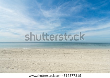 Landscape beach sea and sand for vacation. blue sky