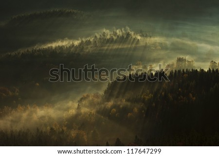 Landscape - Beautiful  morning in Mountains - stock photo