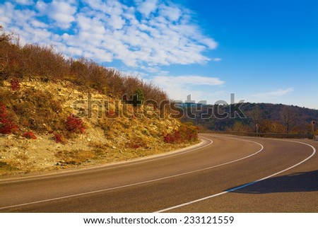 landscape beautiful road receding into the distance - stock photo