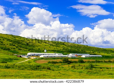 Landscape. Bright nature. Cattle farm. Buildings for growing animals - stock photo