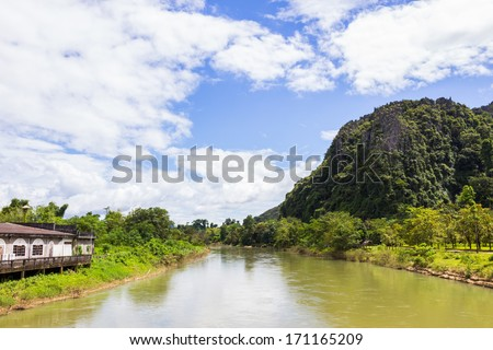 landscape by the Song river at Vang Vieng from Laos