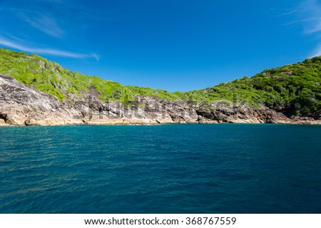 Landscape,clear water,blue sky at the Island in Andaman Sea, Thailand - stock photo