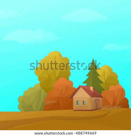 Landscape, Country House in Autumn Forest with Coniferous and Deciduous Trees and Blue Sky with Clouds, Low Poly.