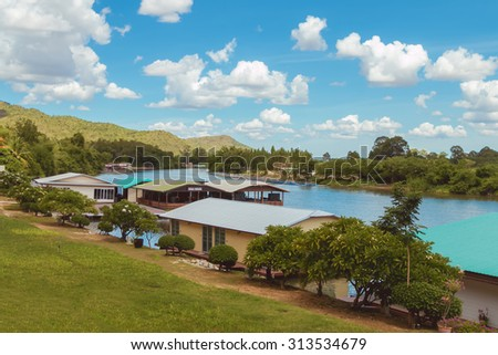 Landscape cozy resort near the river at day,slow speed shutter blurred  - stock photo