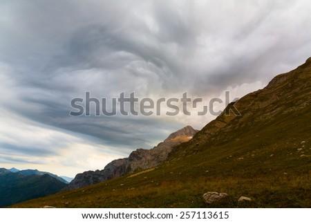 landscape dangerous tornado sky background disaster climate - stock photo