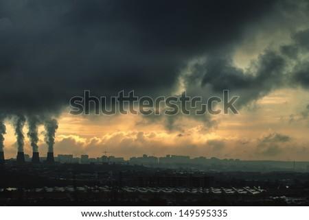 landscape, dark industrial urban city - stock photo