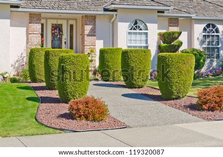 Landscape Design Nicely Trimmed Bushes Front Stock Photo 119320087 ...