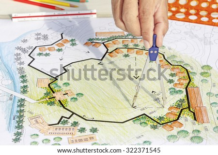 Landscape Designs Blueprints For Resort. - stock photo