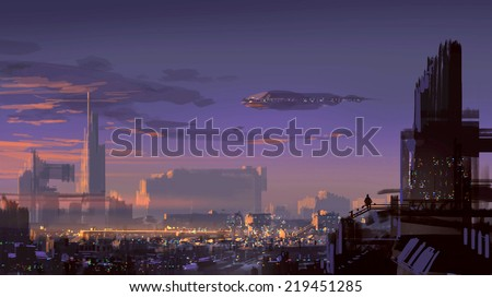 landscape digital painting of sci-fi city - stock photo
